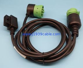 China Right Angle Green 9 Pin Deutsch Cable Type 2 For Truck Auto Diagnostic Tool supplier