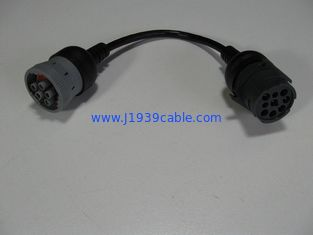 China Black Durability J1939 Cable 9 Pin To 6 Pin With 5M Ohm Min Insulation Resistance supplier