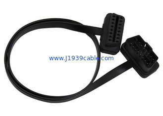 China Black Obd2 Extension Cable Right Angle Male 24V To Female Flat Extension Cord supplier