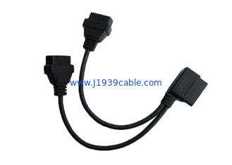 China Black 16 Pin OBD2 Y Cable Right Angle Male To Dual Female Round Shape supplier