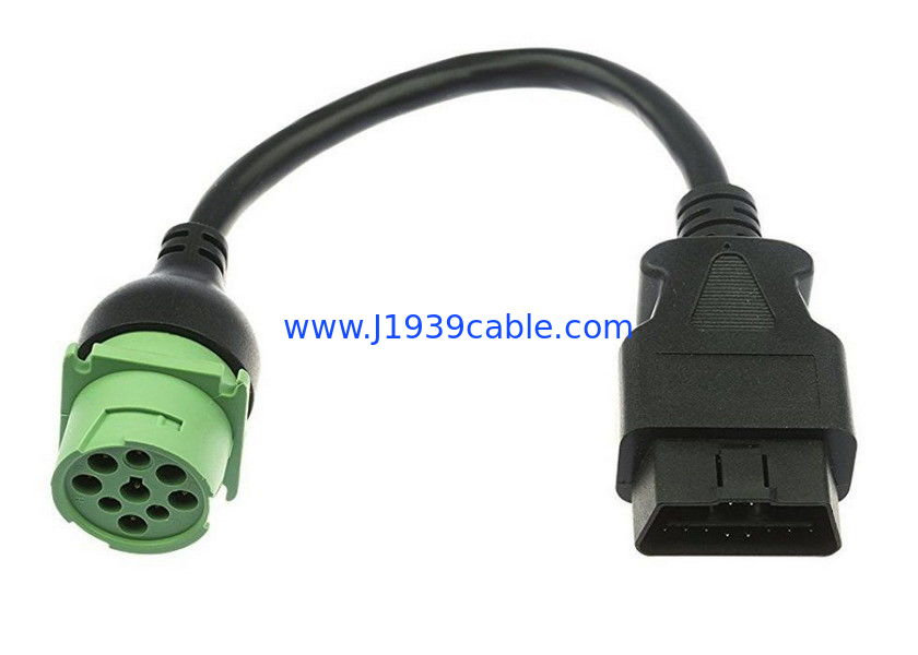 OBD-II Male J1939 Can Bus Cable 9 Pin 20AWG Pure Copper Materials